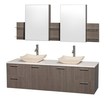 Amare 72 Double Gray Oak Bathroom Vanity Set with Medicine Cabinet Top Finish: White Man-Made Stone, Sink Finish: White Carrera Marble