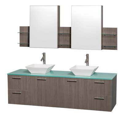 Amare 72 Double Gray Oak Bathroom Vanity Set with Medicine Cabinet Top Finish: White Man-Made Stone, Sink Finish: Ivory Marble