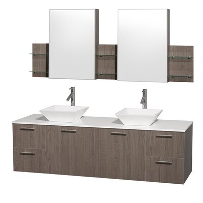 Amare 72 Double Gray Oak Bathroom Vanity Set with Medicine Cabinet Top Finish: White Man-Made Stone, Sink Finish: White Porcelain