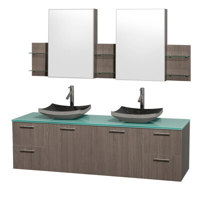 Amare 72 Double Gray Oak Bathroom Vanity Set with Medicine Cabinet Top Finish: Green Glass, Sink Finish: Black Granite