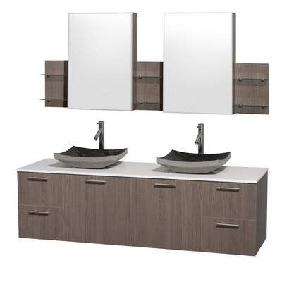 Amare 72 Double Gray Oak Bathroom Vanity Set with Medicine Cabinet Top Finish: White Man-Made Stone, Sink Finish: Black Granite