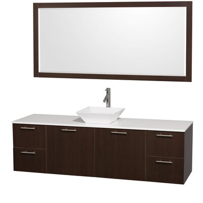 Amare 72 Single Espresso Bathroom Vanity Set with Mirror Top Finish: White Man-Made Stone, Sink Finish: Bone Porcelain