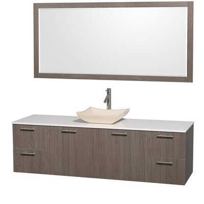Amare 72 Single Gray Oak Bathroom Vanity Set with Mirror Top Finish: White Man-Made Stone, Sink Finish: White Carrera Marble