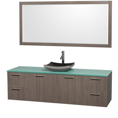 Amare 72 Single Gray Oak Bathroom Vanity Set with Mirror Top Finish: Green Glass, Sink Finish: Black Granite
