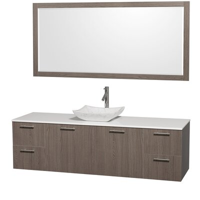 Amare 72 Single Gray Oak Bathroom Vanity Set with Mirror Top Finish: White Man-Made Stone, Sink Finish: Ivory Marble