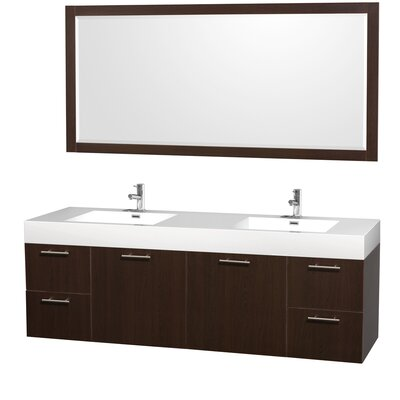 Amare 72 Double Espresso Bathroom Vanity Set with Mirror