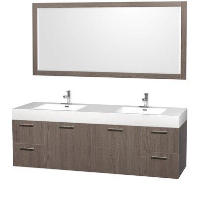 Amare 72 Double Gray Oak Bathroom Vanity Set with Mirror
