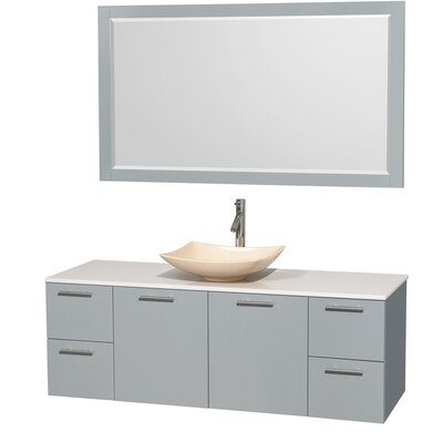 Amare 60 Single Dove Gray Bathroom Vanity Set with Mirror Sink Finish: Altair Black Granite, Top Finish: Green Glass