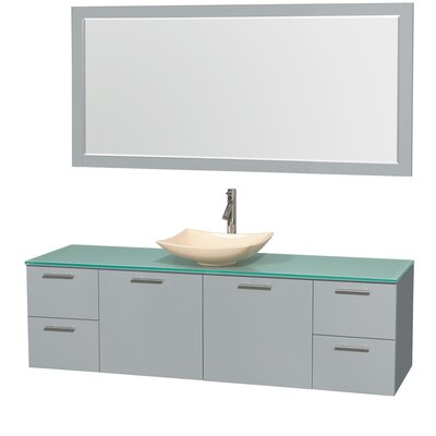 Amare 72 Single Dove Gray Bathroom Vanity Set with Mirror Sink Finish: Bone Porcelain, Top Finish: Green Glass