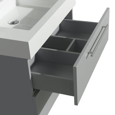 Amare 30 Single Dove Gray Bathroom Vanity Set with Mirror Sink Finish: Avalon White Carrera Marble, Top Finish: Green Glass