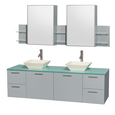 Amare 72 Double Dove Gray Bathroom Vanity Set with Medicine Cabinet Sink Finish: Bone Porcelain, Top Finish: White Man-Made Stone