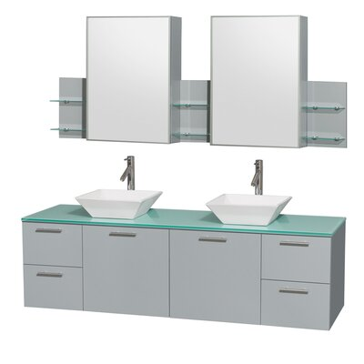 Amare 72 Double Dove Gray Bathroom Vanity Set with Medicine Cabinet Sink Finish: White Porcelain, Top Finish: White Man-Made Stone