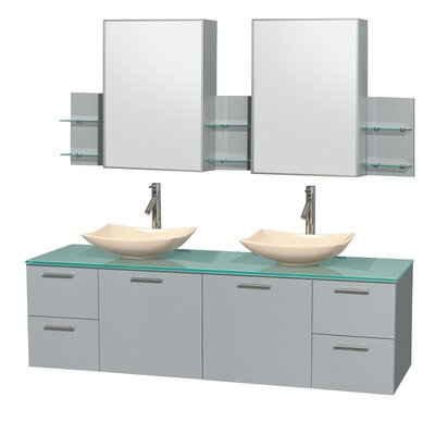 Amare 72 Double Dove Gray Bathroom Vanity Set with Medicine Cabinet Sink Finish: Arista Ivory Marble, Top Finish: Green Glass