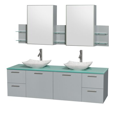 Amare 72 Double Dove Gray Bathroom Vanity Set with Medicine Cabinet Sink Finish: Arista White Carrera Marble, Top Finish: Green Glass