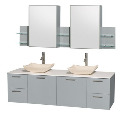 Amare 72 Double Dove Gray Bathroom Vanity Set with Medicine Cabinet Sink Finish: Avalon Ivory Marble, Top Finish: Green Glass