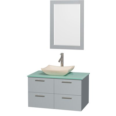 Amare 36 Single Bathroom Vanity Set with Mirror Sink Finish: Ivory Marble