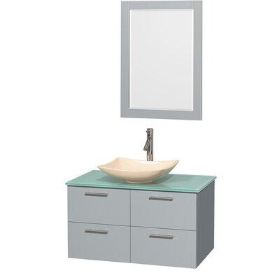 Amare 36 Single Bathroom Vanity Set with Mirror Sink Finish: Ivory Marble