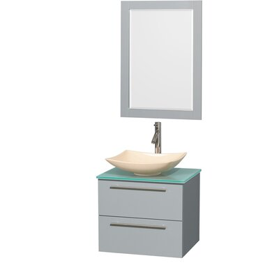 Amare 24 Single Dove Gray Bathroom Vanity Set with Mirror Sink Finish: Arista Black Granite, Top Finish: White Man-Made Stone
