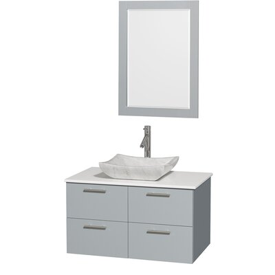 Amare 36 Single Bathroom Vanity Set with Mirror Sink Finish: White Carrera Marble