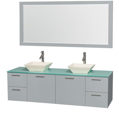 Amare 72 Double Dove Gray Bathroom Vanity Set with Mirror Sink Finish: Avalon White Carrera Marble, Top Finish: Green Glass