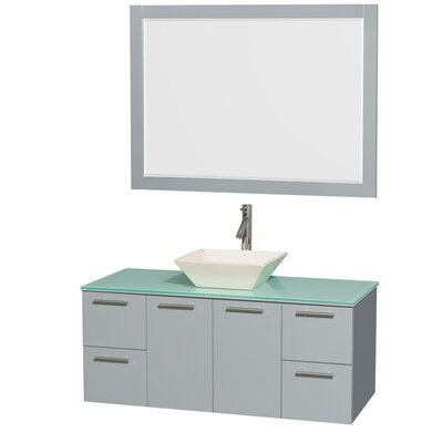 Amare 48 Single Dove Gray Bathroom Vanity Set with Mirror Sink Finish: Bone Porcelain, Top Finish: White Man-Made Stone