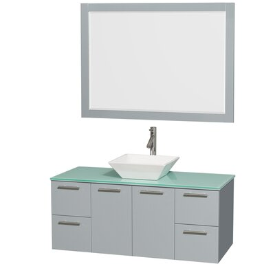 Amare 48 Single Dove Gray Bathroom Vanity Set with Mirror Sink Finish: White Porcelain, Top Finish: Green Glass