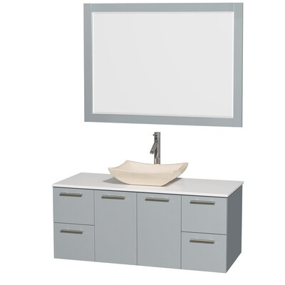 Amare 48 Single Dove Gray Bathroom Vanity Set with Mirror Sink Finish: Avalon Ivory Marble, Top Finish: Green Glass