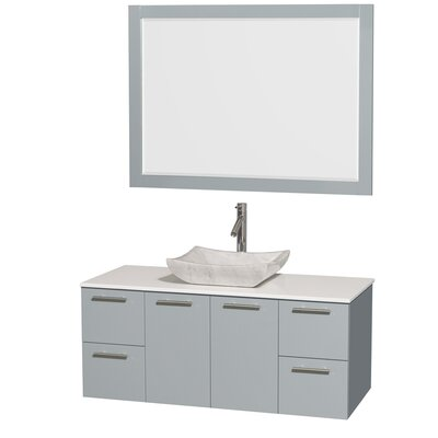 Amare 48 Single Dove Gray Bathroom Vanity Set with Mirror Sink Finish: Avalon White Carrera Marble, Top Finish: Green Glass