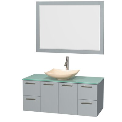 Amare 48 Single Dove Gray Bathroom Vanity Set with Mirror Sink Finish: Arista Ivory Marble, Top Finish: White Man-Made Stone
