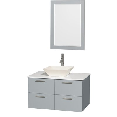 Amare 36 Single Bathroom Vanity Set with Mirror Sink Finish: Bone Porcelain