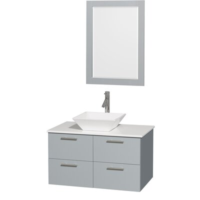 Amare 36 Single Bathroom Vanity Set with Mirror Sink Finish: White Porcelain