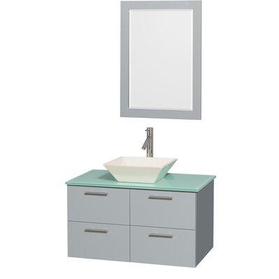 Amare 36 Single Bathroom Vanity Set with Mirror Sink Finish: Bone Porcelain