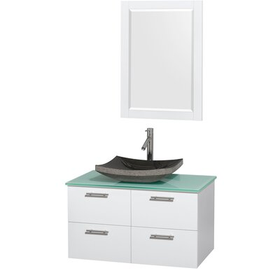 Amare 36 Single White Bathroom Vanity Set with Mirror Sink Finish: Avalon White Carrera Marble, Top Finish: Green Glass