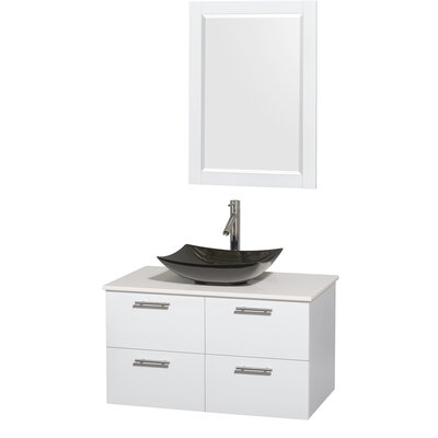 Amare 36 Single White Bathroom Vanity Set with Mirror Sink Finish: Arista Black Granite, Top Finish: White Man-Made Stone