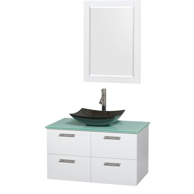 Amare 36 Single White Bathroom Vanity Set with Mirror Sink Finish: Arista Black Granite, Top Finish: Green Glass