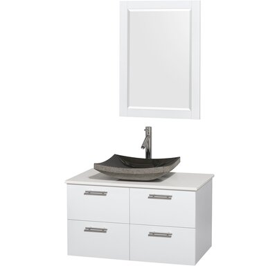 Amare 36 Single White Bathroom Vanity Set with Mirror Sink Finish: Altair Black Granite, Top Finish: White Man-Made Stone