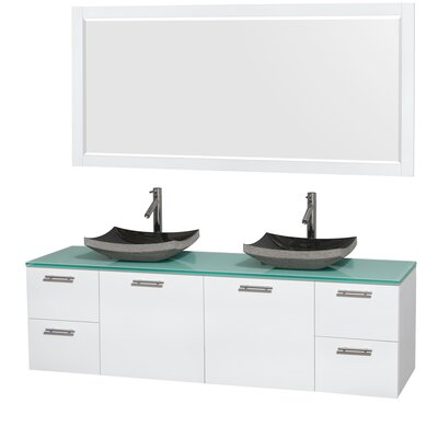 Amare 72 Double White Bathroom Vanity Set with Mirror Sink Finish: Avalon White Carrera Marble, Top Finish: Green Glass