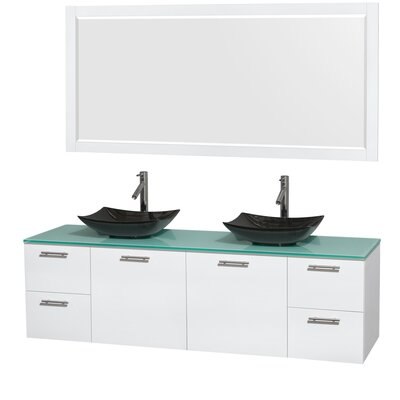Amare 72 Double White Bathroom Vanity Set with Mirror Sink Finish: Arista Black Granite, Top Finish: Green Glass