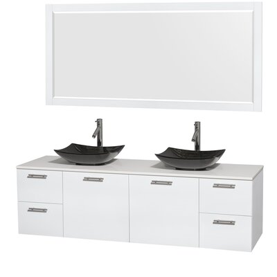 Amare 72 Double White Bathroom Vanity Set with Mirror Sink Finish: Arista Black Granite, Top Finish: White Man-Made Stone