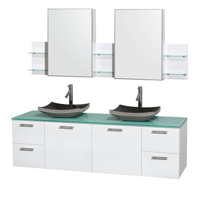 Amare 72 Double White Bathroom Vanity Set with Medicine Cabinet Sink Finish: Avalon Ivory Marble, Top Finish: Green Glass