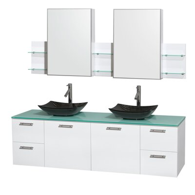 Amare 72 Double White Bathroom Vanity Set with Medicine Cabinet Sink Finish: Arista Black Granite, Top Finish: Green Glass