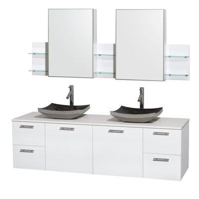 Amare 72 Double White Bathroom Vanity Set with Medicine Cabinet Sink Finish: Altair Black Granite, Top Finish: White Man-Made Stone