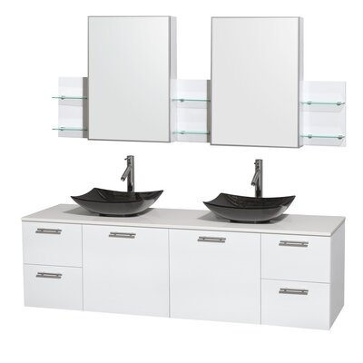 Amare 72 Double White Bathroom Vanity Set with Medicine Cabinet Sink Finish: Arista Black Granite, Top Finish: White Man-Made Stone