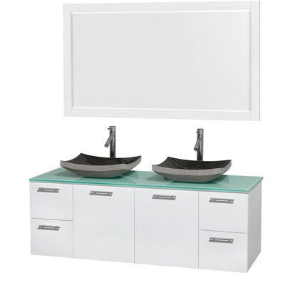 Amare 60 Double White Bathroom Vanity Set with Mirror Sink Finish: Altair Black Granite, Top Finish: White Man-Made Stone