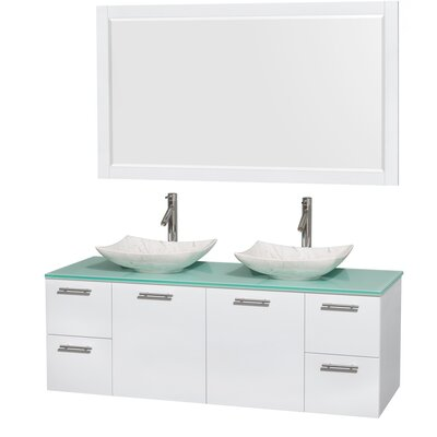 Amare 60 Double White Bathroom Vanity Set with Mirror Sink Finish: Arista White Carrera Marble, Top Finish: Green Glass