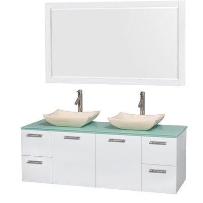 Amare 60 Double White Bathroom Vanity Set with Mirror Sink Finish: Avalon Ivory Marble, Top Finish: Green Glass
