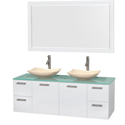 Amare 60 Double White Bathroom Vanity Set with Mirror Sink Finish: Arista Ivory Marble, Top Finish: Green Glass