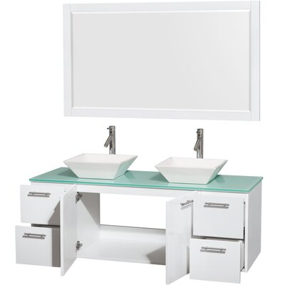 Amare 60 Double White Bathroom Vanity Set with Mirror Sink Finish: White Porcelain, Top Finish: Green Glass