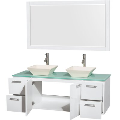 Amare 60 Double White Bathroom Vanity Set with Mirror Sink Finish: Bone Porcelain, Top Finish: Green Glass