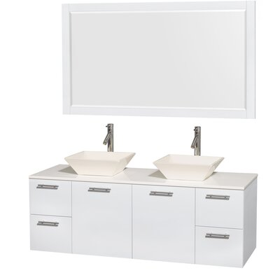 Amare 60 Double White Bathroom Vanity Set with Mirror Sink Finish: Bone Porcelain, Top Finish: White Man-Made Stone